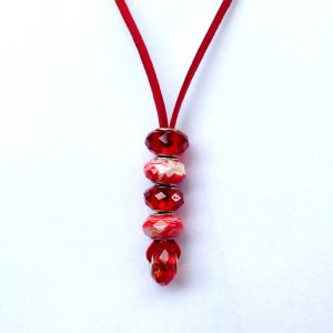 Red glass beads necklace