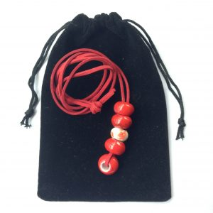 Red big beads necklace with flower bead